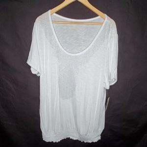 INC White Studded Neckline Short Sleeve Top 2X